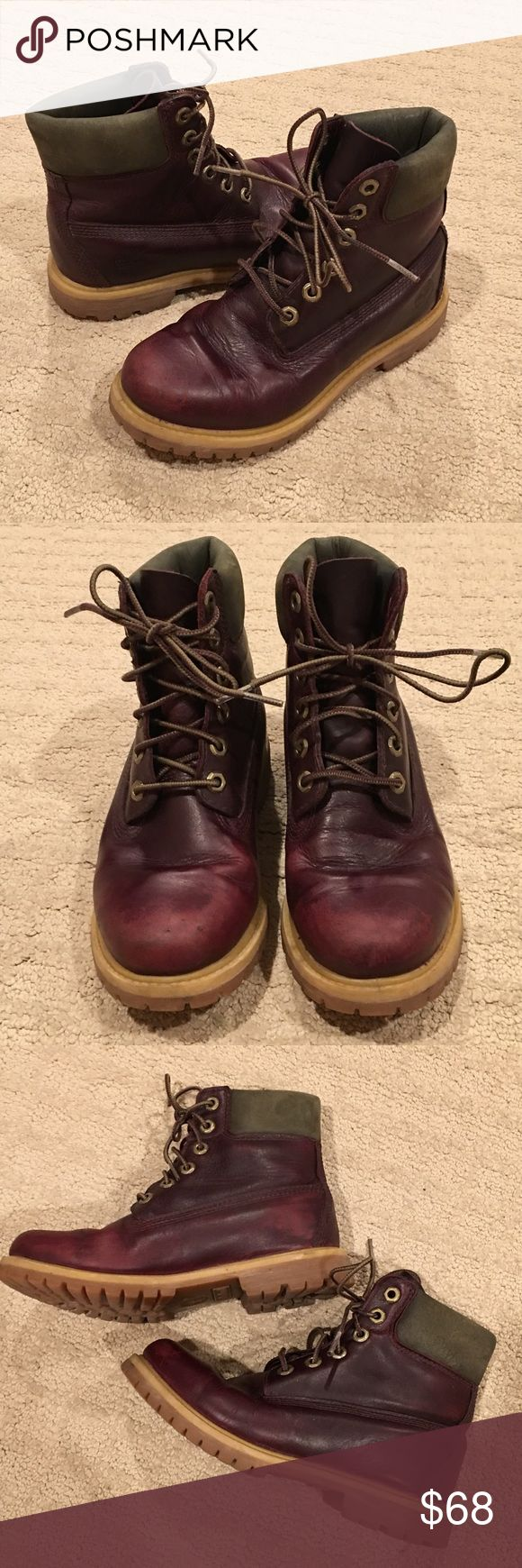 Timberland Earthkeepers maroon leather boots 6W Timberland Earthkeepers boots in a reddish-brown leather. Anti-fatigue insole. Good condition with just a bit of wear as seen in photos. Women's 6 wide Timberland Shoes Ankle Boots & Booties