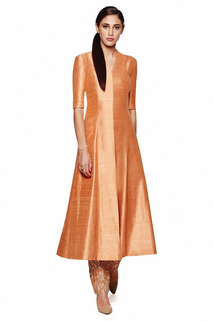 coral orange jacket kurta in raw silk with pajami by Anita Dongre
