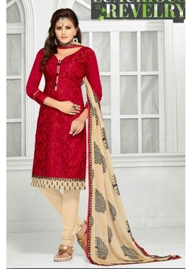 Red Chanderi Churidar Suit, - £40.00, #OnlineSuit #IndianDesign #UniqueCollection #Shopkund