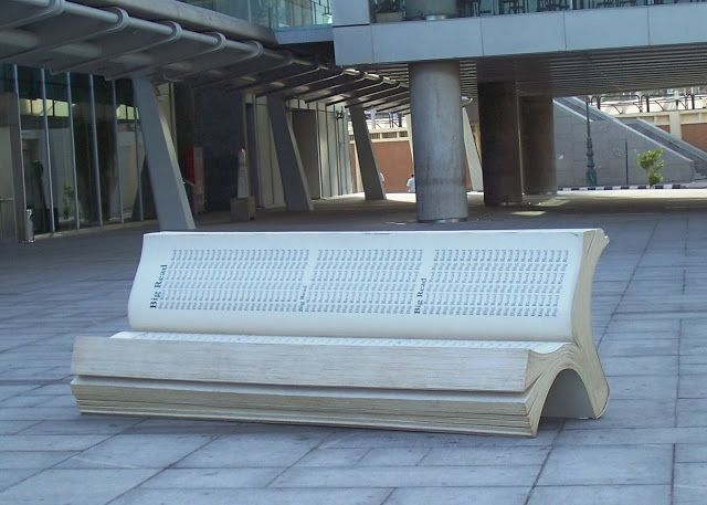 """""""Big Read"""" book bench in Egypt - photo by Kristen Elise Ph,D. blog;  This bench is at the Bibliotheca Alexandrina, a modern-day recreation of the ancient Great Library of Alexandria in Alexandria, Egypt."""