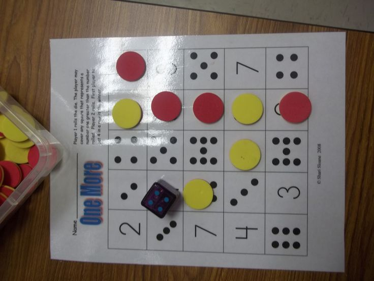 Math Tubs in Kindergarten blog  This is a 4 in a row game: roll a die, add one, cover the number on your board.  I like the dot numbers mixed in - this would be good for number bingo too.