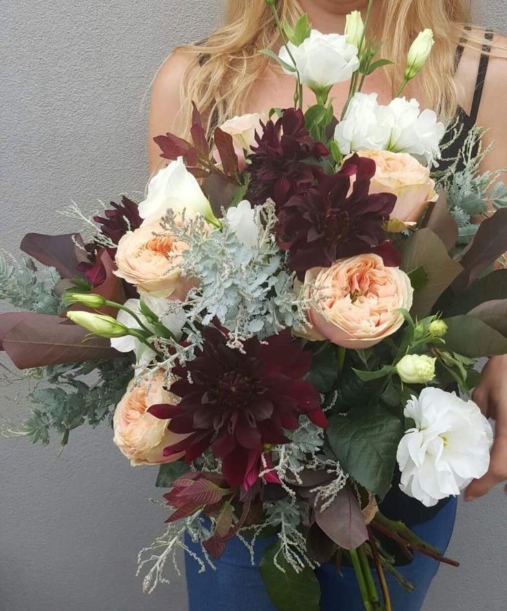 Dahlias and David Austin Wedding Bouquet