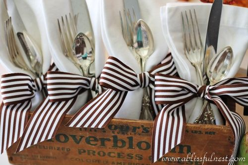Would be pretty on a buffet table, either inside or out. An inexpensive touch that adds so much punch. Details!