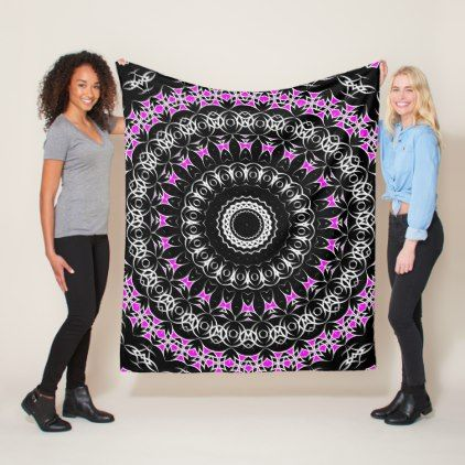 Celtic Tribal Mandala ( Pink ) Fleece Blanket - floral style flower flowers stylish diy personalize