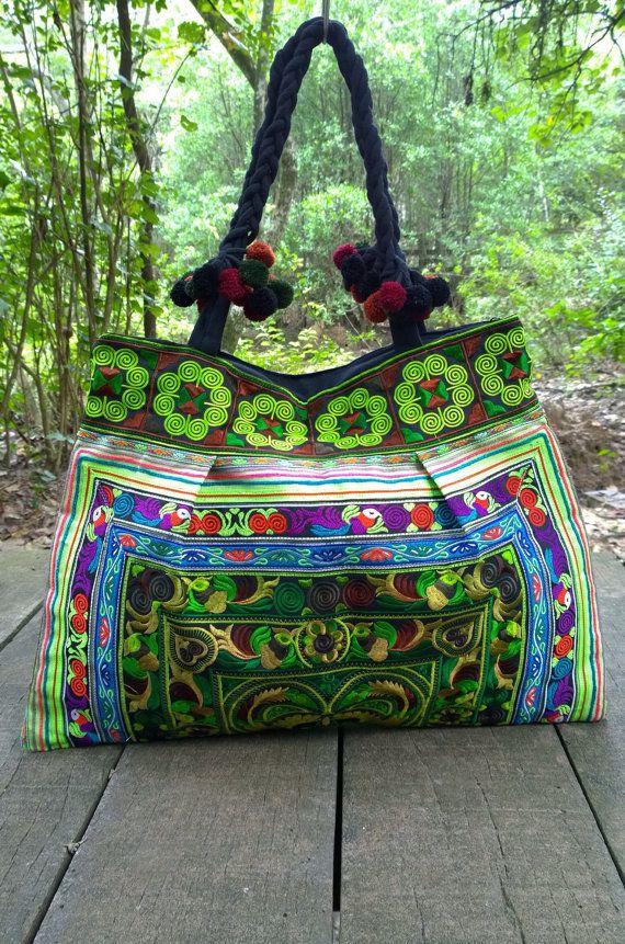 Green Hmong Boho Embroidery Tote Ethnic Bag fashion by pasaboho