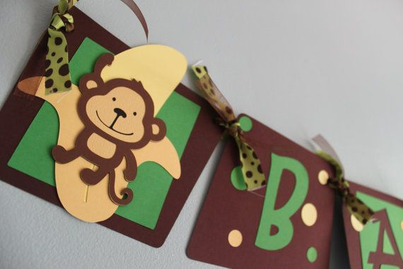 Monkey Baby Shower Banner by calladoo on Etsy, $25.00