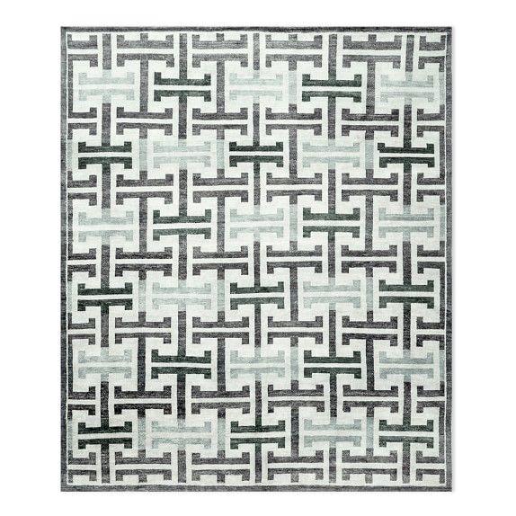 Mykonos Grid Hand Knotted Rug, 9X12', Grey