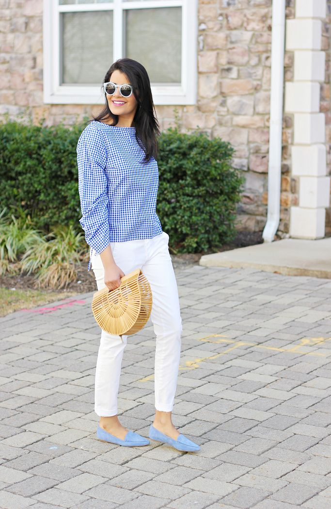 Spring Outfit Idea, How To Wear Gingham, Ruched Sleeve Boatneck Gingham Top,  Cult Gaia Ark Bag, Pale Blue Loafers