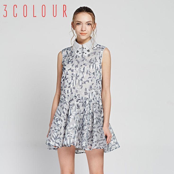 Trei culori 2015 nouă primăvară rochie de cumpărături cu banii lovit de brodat de culoare fără mâneci elegant rochie S510407L30