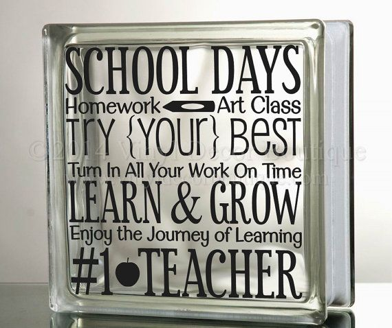 School Days #1 teacher Vinyl Glass Block Decal DIY    ♥ ♥ ♥ ♥ ♥ ♥ ♥ ♥ ♥ ♥ ♥ ♥ ♥ ♥ ♥ ♥ ♥ ♥ ♥ ♥    PLEASE READ: processing and shipping