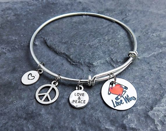 Safety Pin Bracelet -  Solidarity - Love Wins - Peace and Love - Safety Pin Jewelry - Presidential - Charm Bracelet - Expandable Bangle
