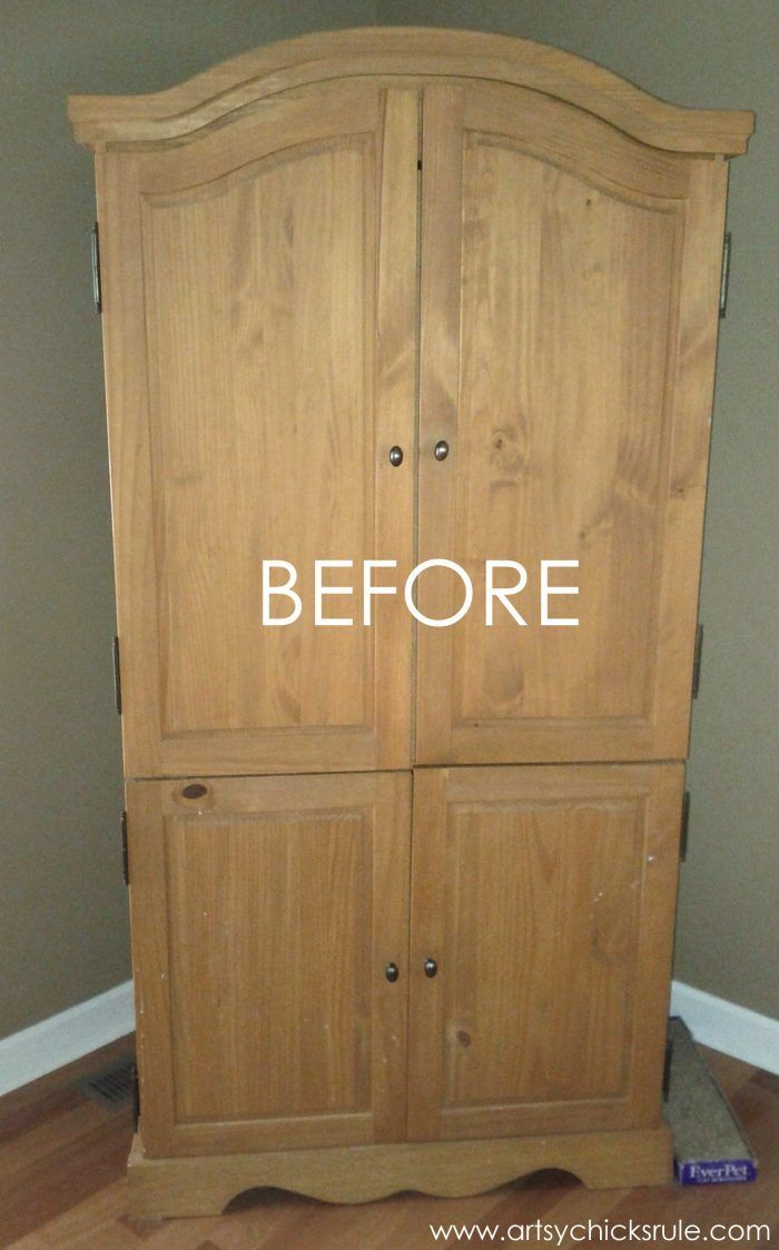 EASY Aged Look with 3 Paints & 2 Waxes! Armoire transformed! artsychicksrule.com...