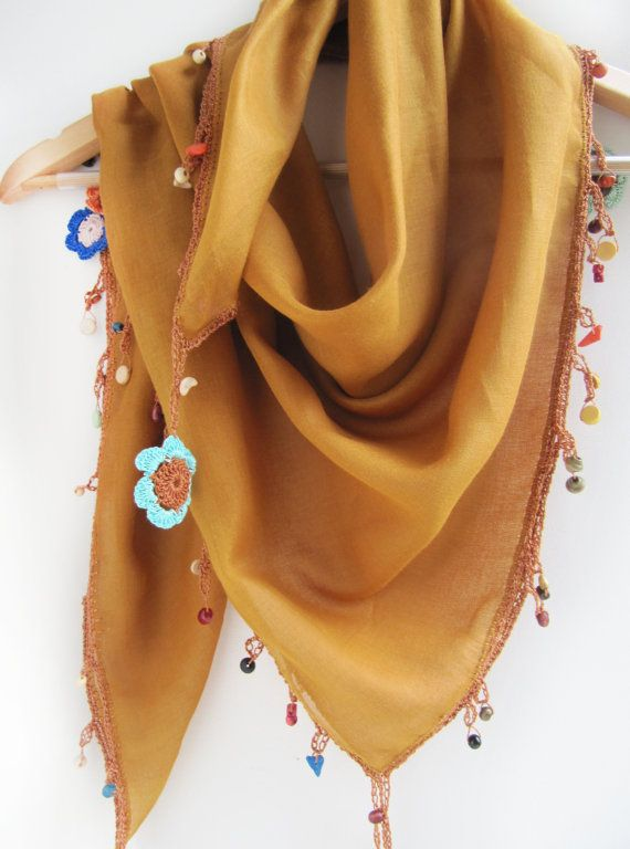Mustard color scarf made by bead and lace by SEVILSBAZAAR on Etsy