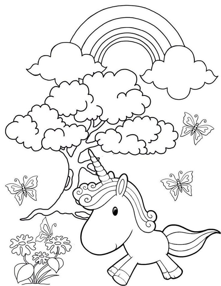Rainbow Garden Unicorn Coloring Page | Unicorn coloring ...