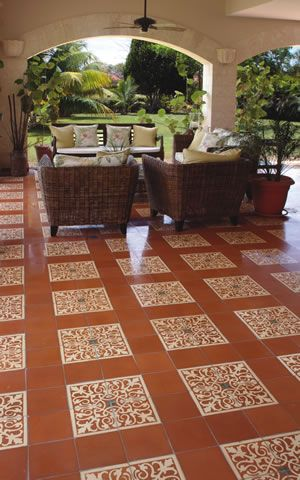 Avente Tile Project: Cement Tile Terrace with San Juan, Solid Color Tiles