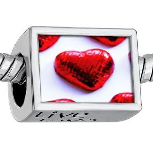 """Pugster Words """"live Love Laugh"""" Beautiful Red Hearts Photo Beads European Beads Fits Pandora Charm Bracelet Pugster. $12.49. It's the photo on the heart charm. Hole size is approximately 4.8 to 5mm. Unthreaded European story bracelet design. Bracelet sold separately. Fit Pandora, Biagi, and Chamilia Charm Bead Bracelets"""