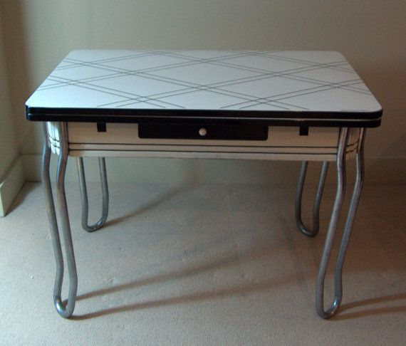 1940u0027s Vintage Enamel Porcelain Table Black By MidCenturySeattle, $299.99
