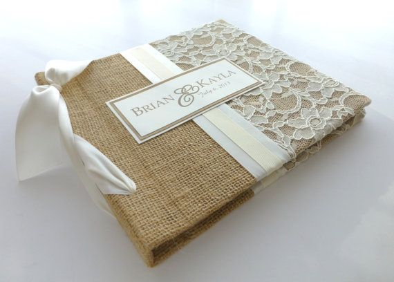 custom Recipe Book for recipe cards-burlap and lace design