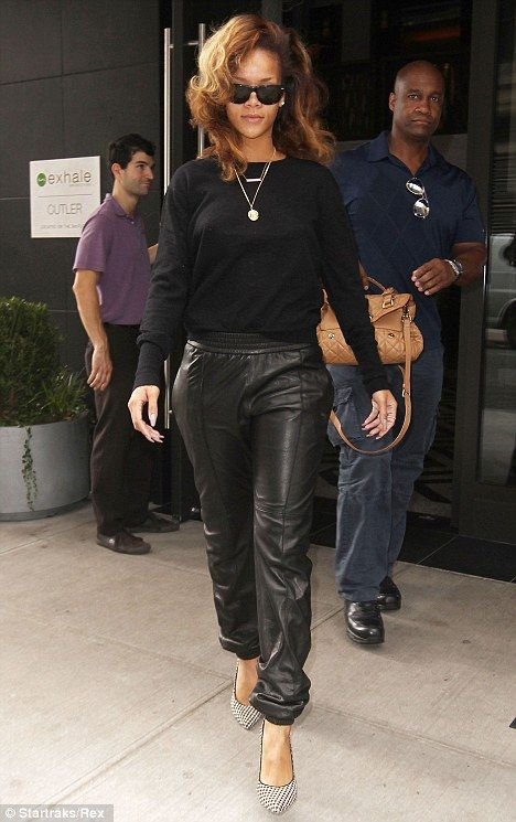 Leather Jogging Pants. Black Outfit. Sporty. Swag. Urban Fashion. Urban Outfit. Hip Hop Fashion. Rihanna Style