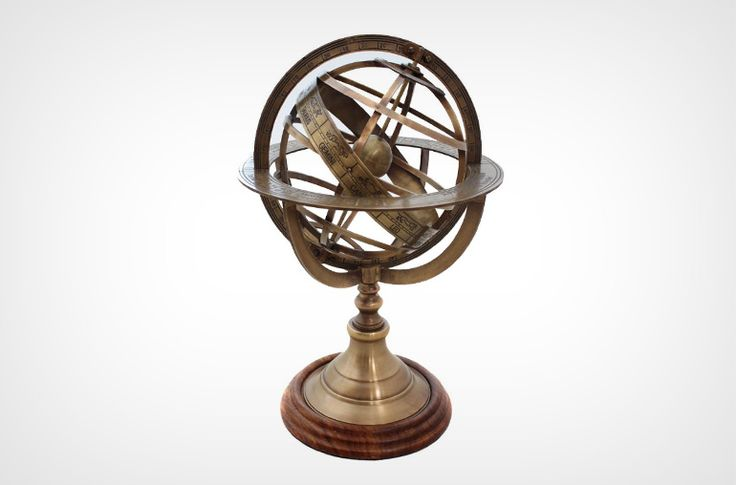 Engraved Brass Tabletop Armillary Globe. Unique gift idea for the sophisticated.