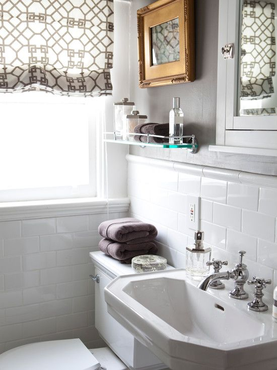 Caitlin Wilson Design Small Bathroom Design With Benjamin Moore Graystone Painted Walls And A Classic