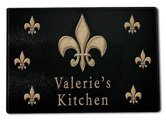 Personalized Name Gl Cutting Board Fleur De Lis Kitchen Decor