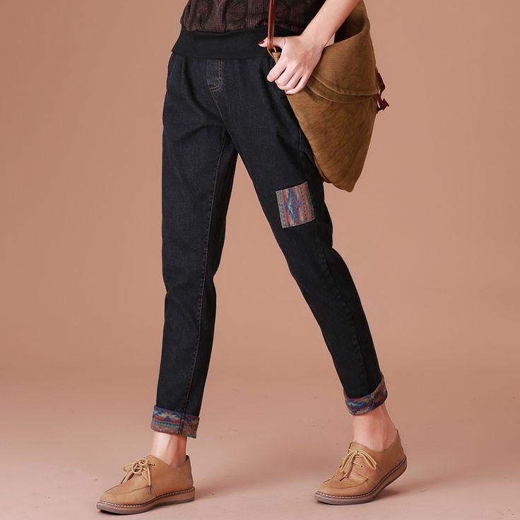 HCXR 2016 grossas de inverno novo estilo jeans calças soltas Haren Ondulação ocasional Nação sytel pant calças para mulheres Tops da senhora Qulity