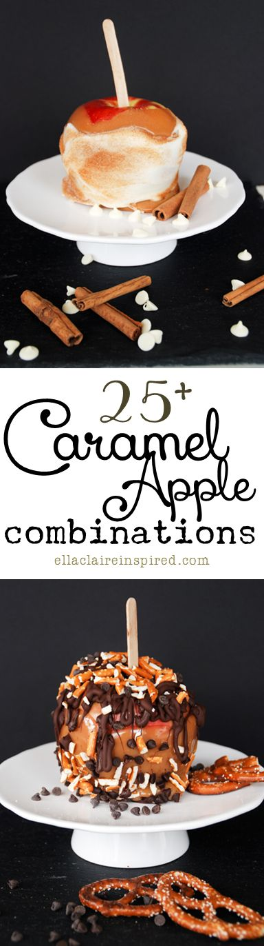25+ Caramel Apple Combinations ~ >Apple Pie Caramel Apple >Cheesecake Caramel Apple >Double Chocolate Caramel Apple >Salted Caramel Apple >Cinnamon Streusel Caramel Apple Links to Making Carmel + Tips & Tricks on Making Apples @: http://www.ellaclaireinspired.com/2013/10/25-caramel-apple-combinations.html