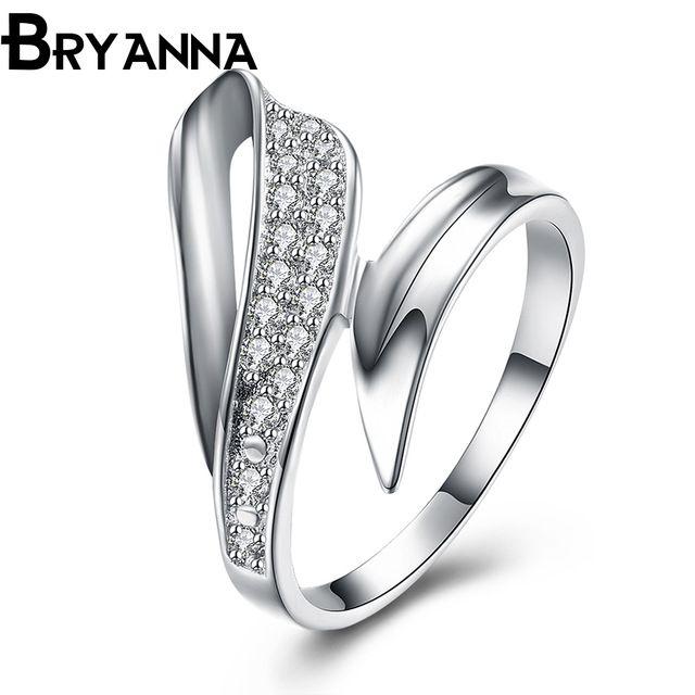 Bryanna покрыло серебряные обручальные кольца для женщин моды ювелирных изделий Bijoux роковой AAA + циркона 9 письма Пара обручального кольцо R4131