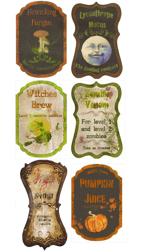 The internet is full of free printable Halloween labels.  These Custom Potion labels are courtesy of ~Pureblackmagik on deviantART