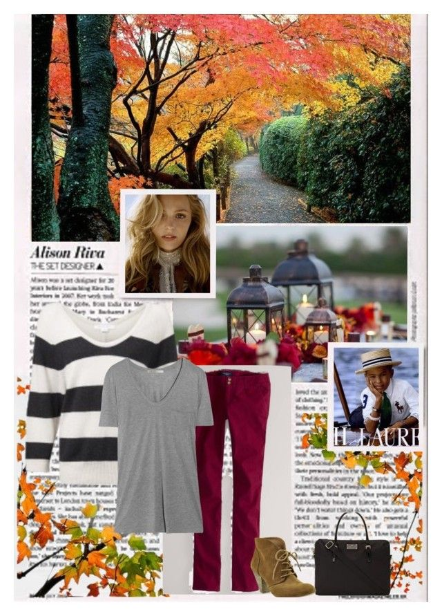 Nautical Meets Autumn Fashion by lilyinjune on Polyvore featuring T By Alexander Wang, American Eagle Outfitters, Bakers, Kate Spade, Duffy, Ralph Lauren, nautical, ankle boots, burgundy and horizontal stripes