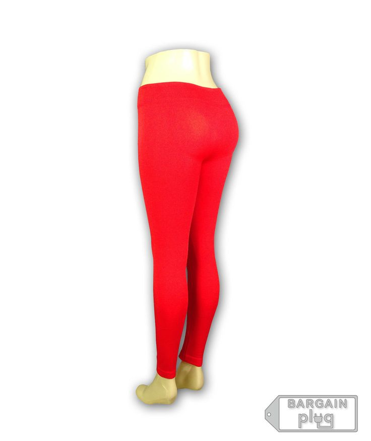 Red Leggings Womens Fitted Pants Thick Warm Gym Yoga Stretch Spandex
