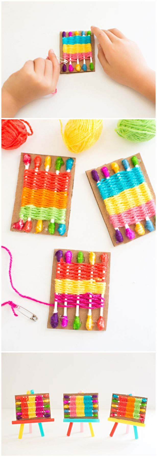 Make a Q-Tip Weaving Loom for Kids. Easy way to introduce weaving to kids and great for practicing fine motor skills!