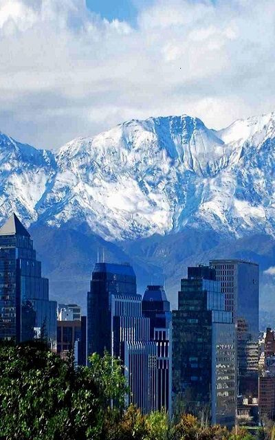 Santiago, Chile. You can't always see the Andes in the background (sometimes it's covered in smog or fog) but this is quite beautiful!