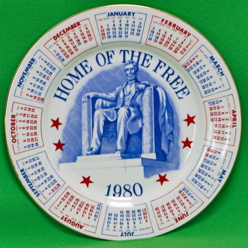 Vintage 1980 Patriotic Calendar Collector Plate From Spencer Gifts