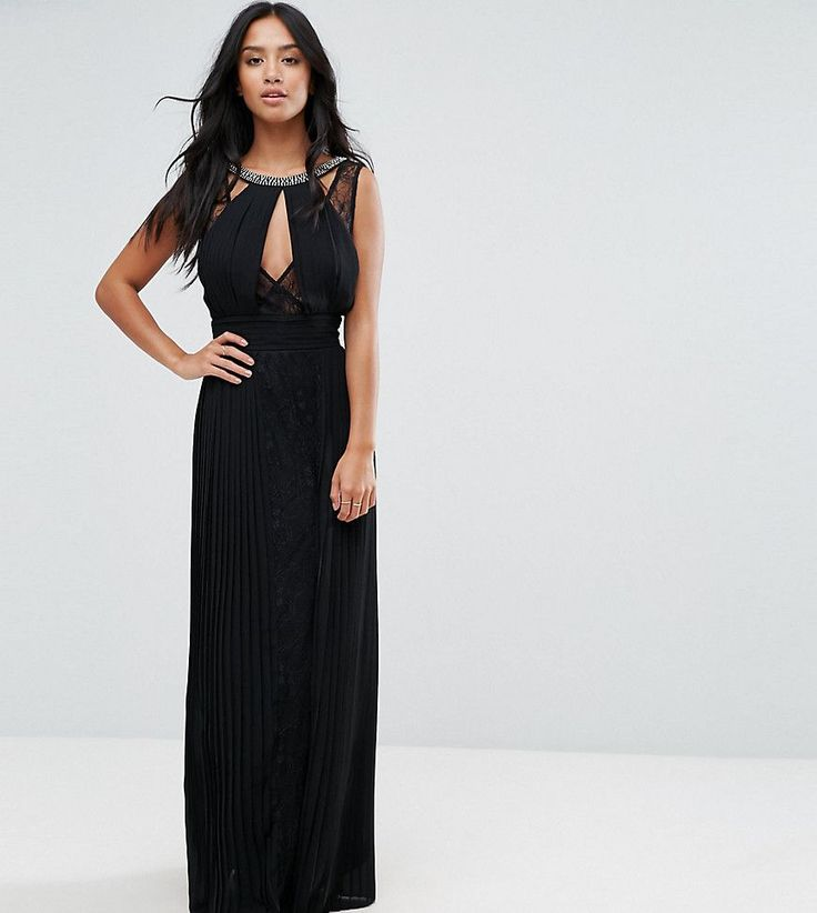 Get this TFNC Petite's cocktail dress now! Click for more details. Worldwide shipping. TFNC Petite High Neck Embellished Maxi Dress With Lace Insert - Black: Petite dress by TFNC, Pleated woven fabric, Lace inserts, Embellished neck, Plunge front, Button-keyhole back, Zip back fastening, Regular fit - true to size, Hand wash, 100% Polyester, Our model wears a UK 8/EU 36/US 4 and is 158cm/5'2 tall. London label TFNC is renowned for its standout occasionwear. Step it up in sparkly fabrics…
