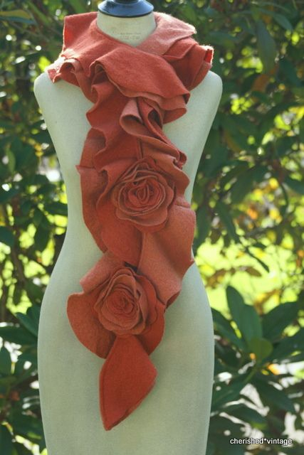 (pic. only - Flickr) Ruffle Rose scarf made from recycled sweaters   From Etsy shop: cherishedvintage