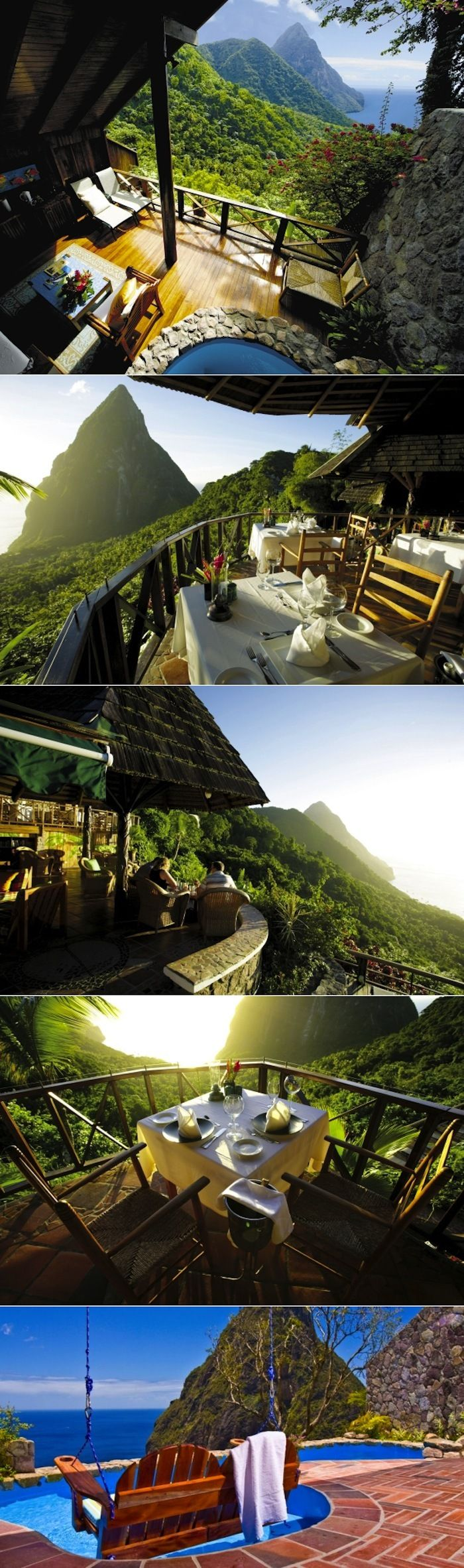 The Ladera in St. Lucia. An incredible resort with beautiful views of the The Pitons.