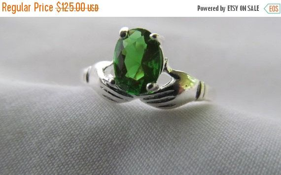 JEWELRY SALE Proposal Love Token Lovely Emerald Sterling Silver Hand Ring by ReVintageLannieJewls