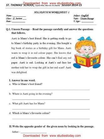Unseen Passage Class 2 Subject English Google Search Worksheets Class English G Writing Comprehension Reading Comprehension Worksheets Comprehension