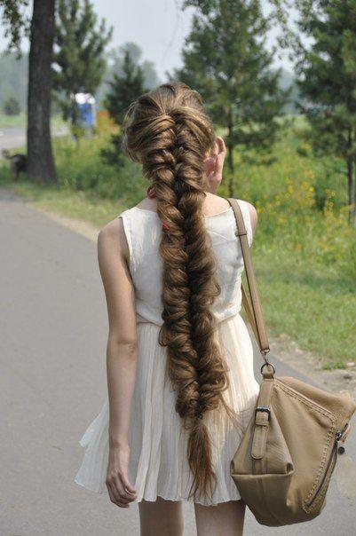 Loose fishtail braid in long brown hair. #hair #braid