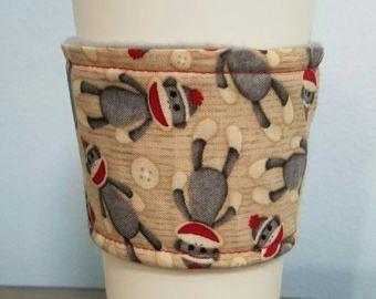 Sock Monkey Coffee and Tea Cozy Sleeve