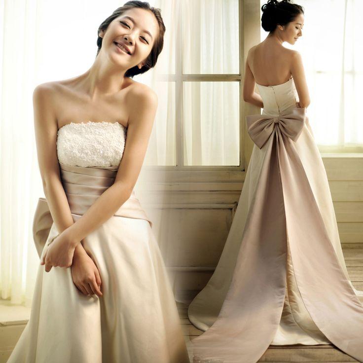 Fashion simple wedding dress floor length bridal dress