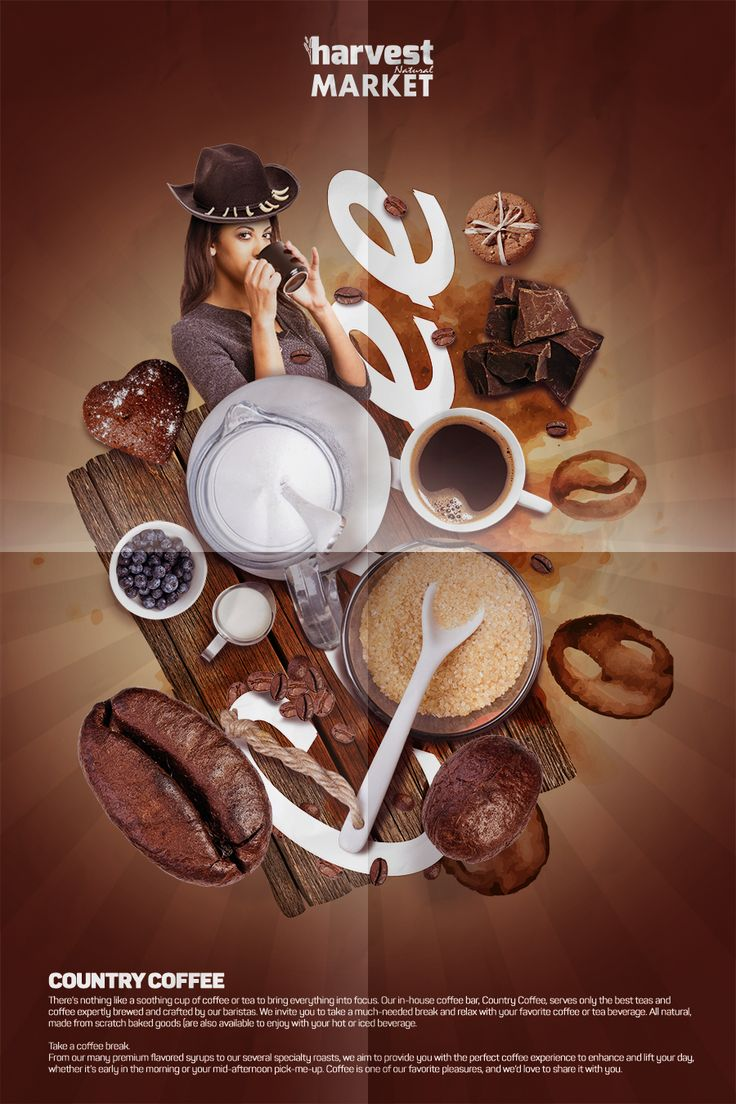 Harvest Natural Market Afiş Tasarım - Kahve Ürünleri Departmanı