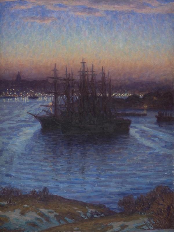 Prins Eugen (1865-1947), Skibe for anker. Vinter, 1908. Statens Museum for Kunst / National Gallery of Denmark