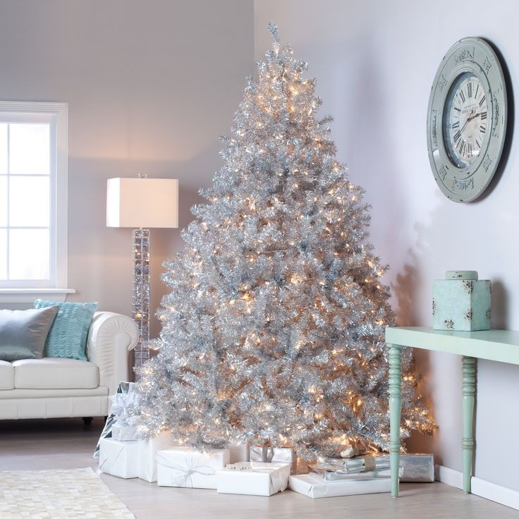 classic silver full prelit christmas tree 75 ft - Prelit Christmas Tree