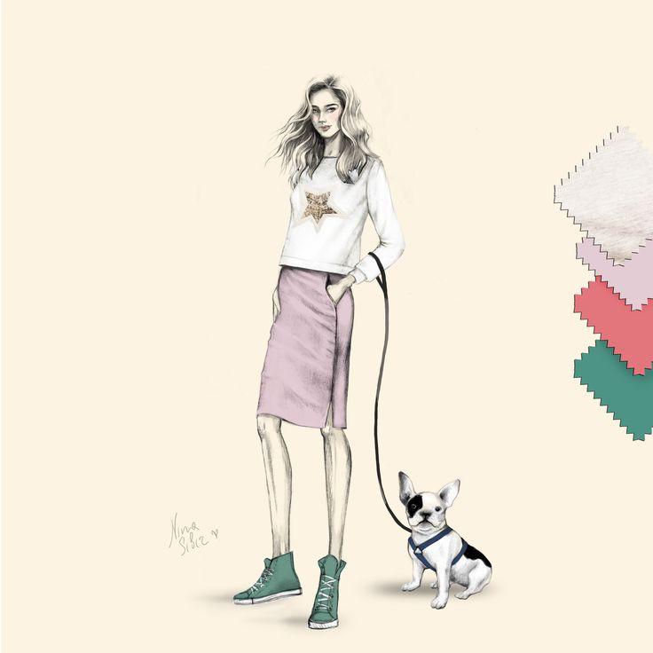 by Nina Sibiratkina  #sweatshirt #bulldog #look #drawing