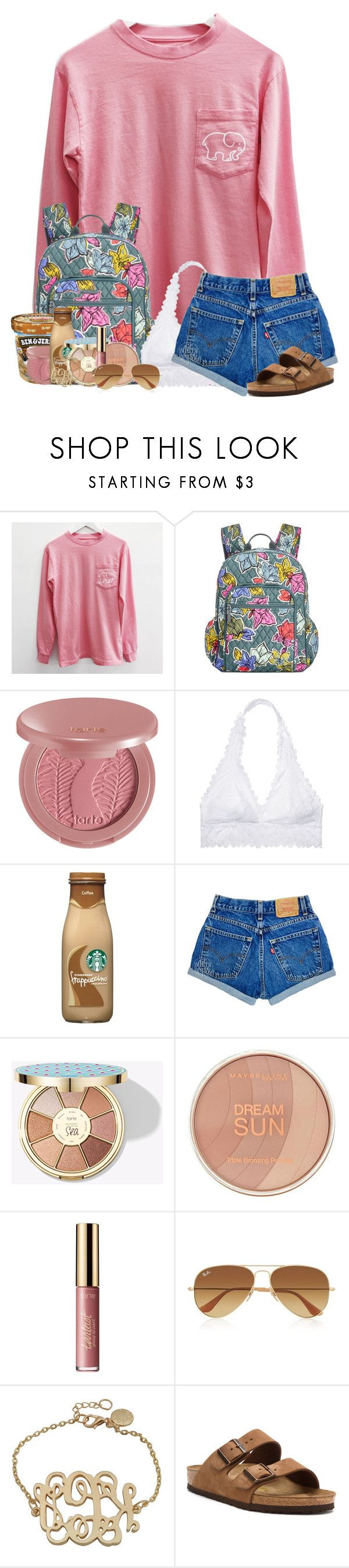 """""""RTD ( if u want to , it's not important, it's just funny )"""" by abigailcdunn ❤ liked on Polyvore featuring Vera Bradley, tarte, Victoria's Secret, Maybelline, Ray-Ban and Birkenstock"""