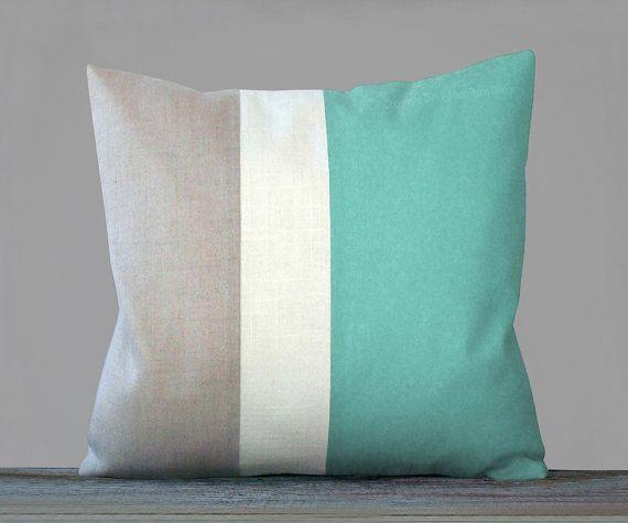Beach House Decor Color Block Pillow in Mint by JillianReneDecor, $85.00