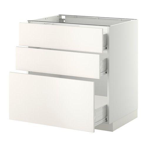 METOD / FÖRVARA Unterschrank mit 3 Schubladen - Veddinge weiß, weiß, 80x60 cm - IKEA